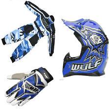 Nuevo Traje de casco Wulfsport Azul Niños Jóvenes Guantes Paquete Kit todos los tamaños Niño PW