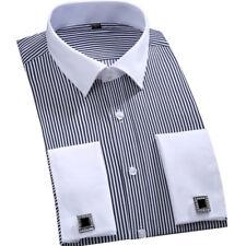 New Mens Luxury Casual Business Stylish French Cuff Strips Dress Shirts MA6340