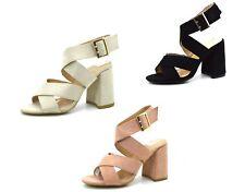 Scarpe estive donna sandali aperti scamosciati con tacco largo comodo tronchetti