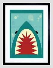 Pintura Ilustración miedo dibujos animados Dientes de Tiburón Montaje de Impresión Arte Enmarcado B12X13617
