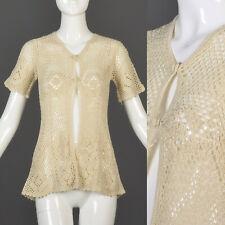 M Vintage 1970s 70s Crochet Short Sleeve Top Boho Hippie Cardigan Sheer Sweater
