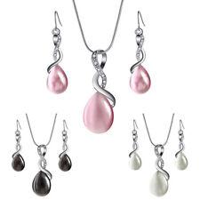 Jewelry Sets Opal Crystal Drop Pendant Necklace Earrings Bridal Wedding Gift VU