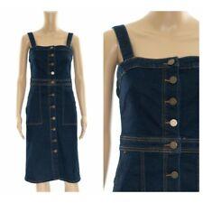 ex M&S Pinafore Denim Midi Button Through Pockets Dress