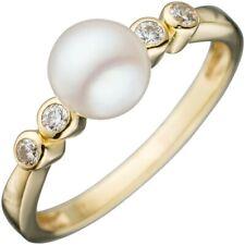 Ring Damenring Goldring mit weißer Perle & Zirkonia 333 Gold Gelbgold Perlenring