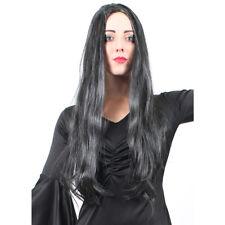 WOMENS FULL LONG BLACK WIG STRAIGHT HAIR SYNTHETIC FANCY DRESS HALLOWEEN WIGS