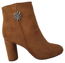 Trachtenschuhe Stiefelette Stiefel Schuhe Damen Trachten Sneaker Braun Gold Pin