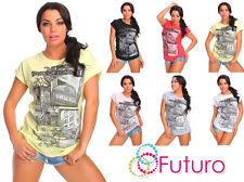 Womens Casual T-Shirt London Print Summer 100% Cotton Sport Top Sizes 8-14 FB283