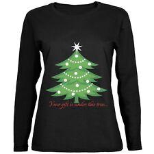 Christmas Gift Under Tree Black Womens Long Sleeve T-Shirt