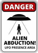 FUNNY Avvertimento Pericolo Rapimento Alieno UFO presenza area Autoadesivo Autoadesivo