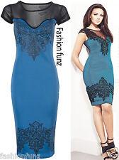 Womens Ladies Celeb Michelle Mesh Crew Neck Bodycon Sheer Panel Lace Print Dress