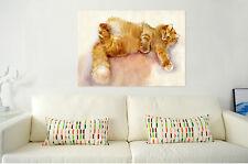 3D Gold cat632 Wall Stickers Vinyl Murals Wall Print Decal Art AJ STORE AU Lemon