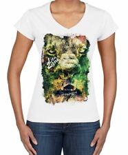 Lion of Judah Zion Reggae Large Print Women's V Neck T-Shirt - Rasta Bob Marley
