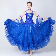 Latin Ballroom Dance Dress Modern Salsa Waltz Standard Long Dress#NN068 4 Colors