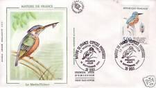 2724  FDC ENVELOPPE 1er JOUR SOIE MARTIN PECHEUR