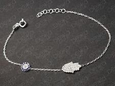 925 Sterling Silver Gold Rose Hamsa Hand Fatima Evil Eye Mati Nazar CZ Bracelet