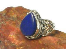 Blue Teardrop Lapis Lazuli Sterling Silver 925 Gemstone Ring