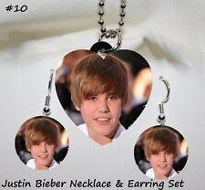 JUSTIN BIEBER Photo Heart Charm Necklace & Earring Set #10 handmade