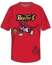 Men's Toronto Raptors Mitchell Ness Red Gold Retro Logo T Shirt Hardwood