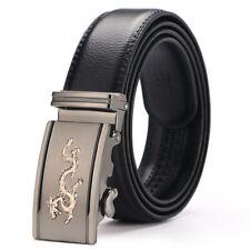 Fashion Mens Genuine Leather Belt Waistband Strap Dragon Automatic Buckle Formal