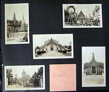 9x 1930's PHOTOS on ALBUM PAGE THAILAND & ZAMBOANGA & DAVAO PHILIPPINES (gers)