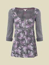 New White Stuff Grey Purple Foxglove Bird Dove Spotty Top Sz 8 10 12 14 16 18