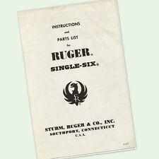RUGER SINGLE SIX PISTOL INSTRUCTIONS PARTS OWNER MANUAL DIAGRAMS PARTS VIEWS GUN