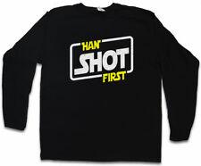 HAN SHOT FIRST LONG SLEEVE T-SHIRT Solo X Red Star Five Wars Wing Skywalker