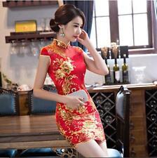Cheongsam Wedding Bride Dress Chinese Women's Dress QiPao Party Mini Dress Red @