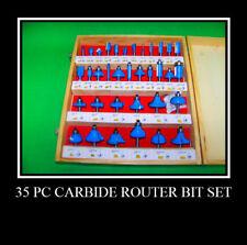 "35 pc 1/4"" Carbide Tip Router Bit Set Woodworking Tools AJ"