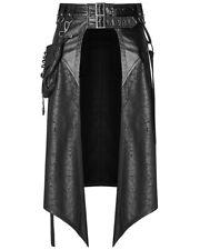 Punk Rave Mens Dieselpunk Half Skirt Kilt Black Goth Steampunk Apocalyptic LARP