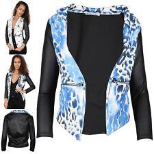 Womens Butterfly Leopard Printed PVC Sleeves Ladies Waterfall Coat Blazer Top