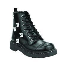T.U.K Anarchic T2218 Cuero Negro Blanco Flores Dedo del pie Cap Botas
