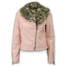 Ladies Biker Jacket Brave Soul Faux Fur Leather Look Womens Coat Crop Quilted