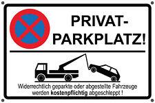 Schild Privatparkplatz Parken verboten Parkverbot Hinweisschild mit Bohrungen