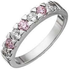 Damen Ring 925 Sterling Silber mit Zirkonia rosa und weiß Silberring