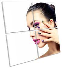 Beauty Nail Salon Hairdressers Framed MULTI CANVAS PRINT Art Square