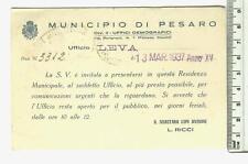 Cartolina di Comunicazione del Municipio Pesaro - 10148
