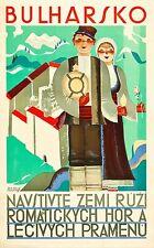 """Bulharsko Bulgaria Vintage Illustrated Travel Poster Print for  Glass Frame 36"""""""