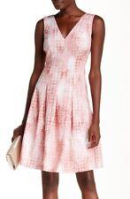 Anne Klein Pink Shell Cotton Sateen Tie Dye Print V-Neck/Back Fit & Flare Dress