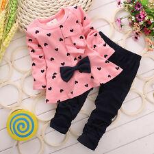 2PCS Kids Little Girls Heart Love Bowknot Blouse Shirts Pants Clothes Set BC0016