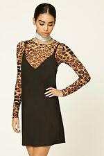 Forever 21 Black Brown Leopard Combo Slip Dress XL