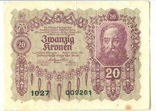 OLD AUSTRIA GOUVERNMENT 20 KRONEN 1922