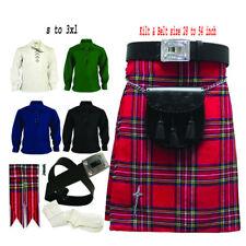 Royal Stewart Men's Traditional Scottish Kilt outfit Belt Sporran 8 Pcs Set