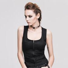 Gothic Punk Women Black Vest Back Lace Up Sexy Sleeveless Corset Waistcoat Tops