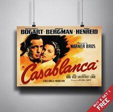 CASABLANCA Poster A3 / A4 Romantic Cult Classic Movie Art Print Home Wall Decor