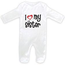 I LOVE MY SISTER Baby SleepSuit Romper - 0-18months