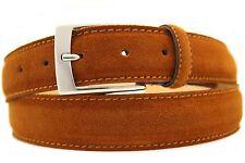 Italienischer Wildledergürtel Herren Damen Suede Belt Cognac 3,5cm Breit