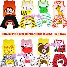 free ship 100% cotton Baby boys girls sets singlet shorts pants pjs 0-3yrs