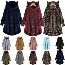 Plus Womens Winter Cat Ears Hooded Fluffy Coat Fleece Fur Jacket Loose Baggy Top