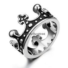 Men Unisex Vintage Royal King Crown Ring Stainless Steel Wedding Band Size 6-12